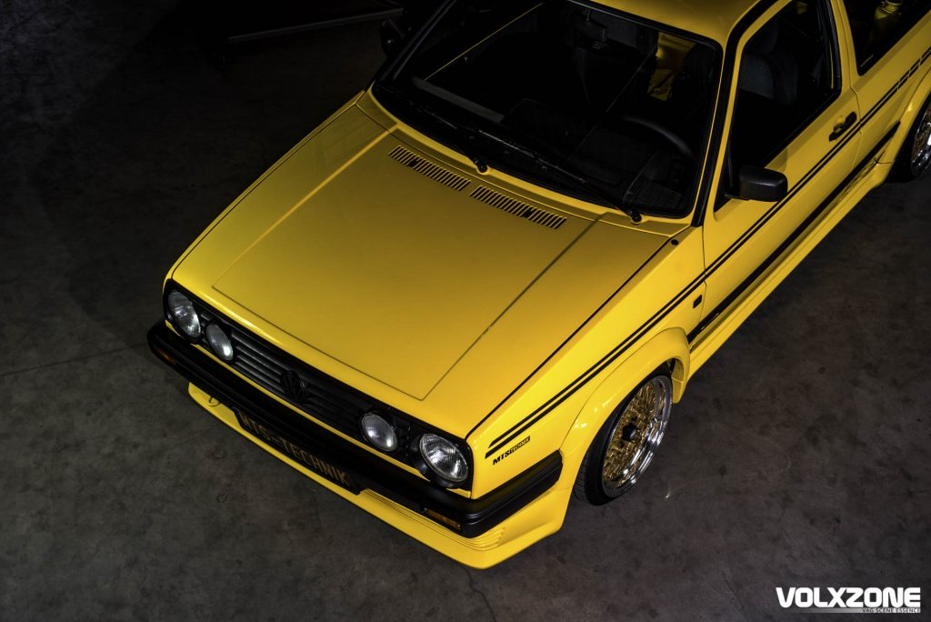 Yellow VW Golf BBS